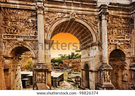 Roman Forum, The Arch of Septimius Severus at Sunset, Rome - Italy