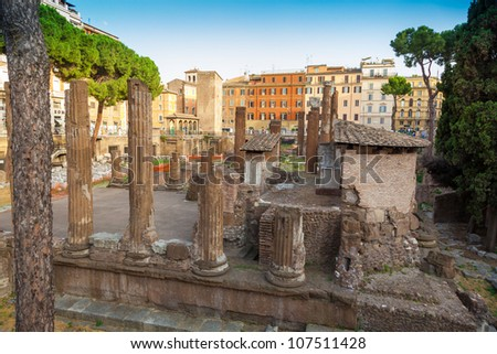 Roman Forum, Trajan's column in Rome - stock photo