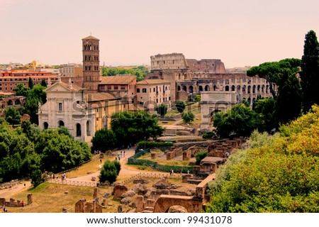 Roman Forum view with the famous Colosseum - stock photo