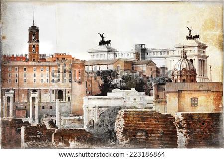 Roman forums -  vintage picture - stock photo