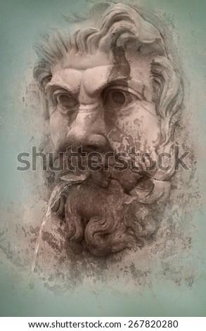 Roman fountain - stock photo