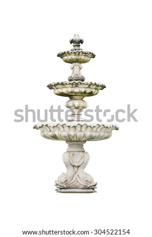 Roman fountain basin isolated on white background - stock photo