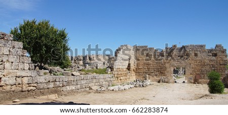 Roman gate into the ancient city of   Perge,  Turkey