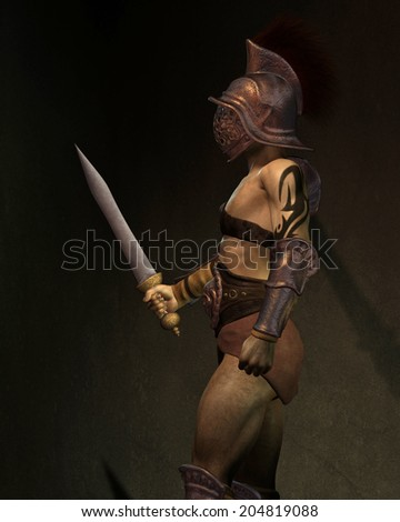 Roman gladiator based on the Murmillo or Myrmillo type with gladius short sword, helmet and armour standing in the shadows, side view, 3d digitally rendered illustration - stock photo