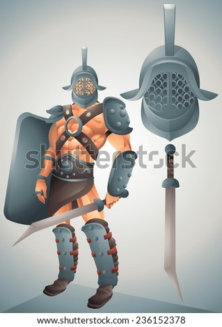 Roman Gladiator cartoon concept 2 - stock photo