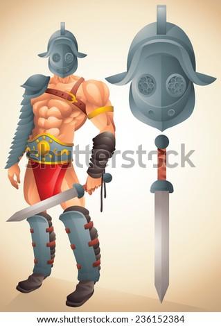 Roman Gladiator cartoon concept 1 - stock photo