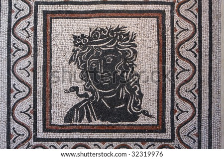 Roman mosaic with Medusa from Pompeii, Italy - stock photo