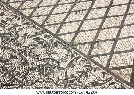 Roman mosaics on the floors of Villa Adriana, near Rome - stock photo