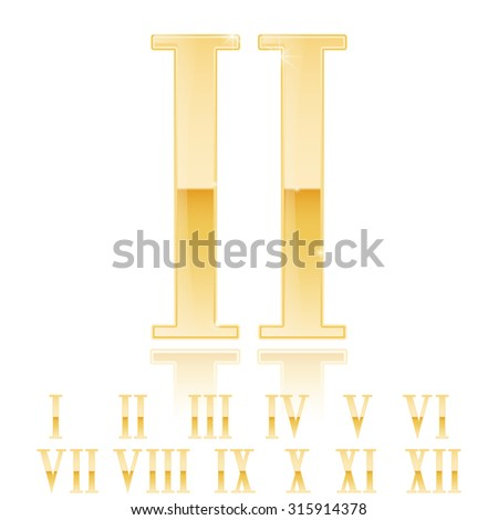 Roman numerals set. Golden numerals. Gold glossy Two 2 .  Raster version. Illustration isolated on white background.