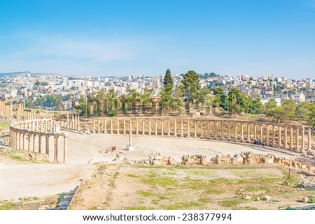 Roman Oval Forum in the ancient city of Gerasa, modern Jerash, Jordan.  - stock photo