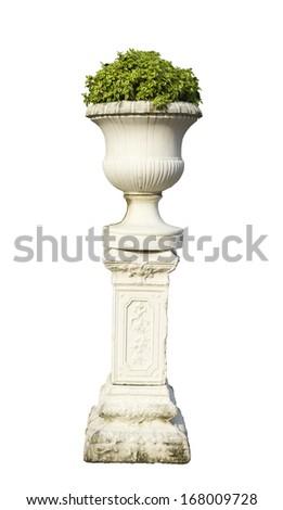 Roman pillars gardening isolated white background - stock photo