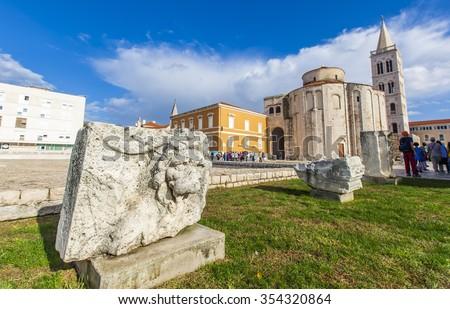 Roman ruins and Church of St. Donat, Zadar, Croatia, adriatic region of Dalmatia. - stock photo