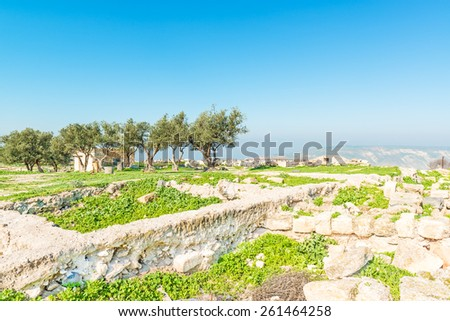 Roman ruins at Umm Qais in northern Jordan. - stock photo