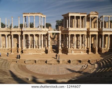 Roman ruins in Merida, Spain - stock photo