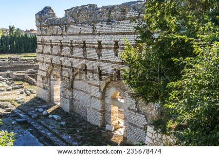 Roman ruins in Nice. Archaeology Museum of Nice-Cimiez is located on the outskirts of the ancient city of Cemenelum (Cimiez) between amphitheatre and three thermes from the third century. France. - stock photo