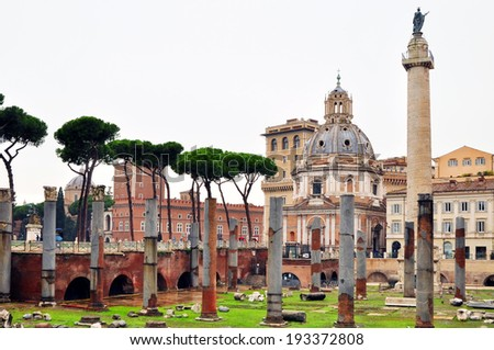 Roman ruins in Rome. Antique.