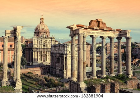 Roman ruins in Rome, Fori Imperiali. - stock photo