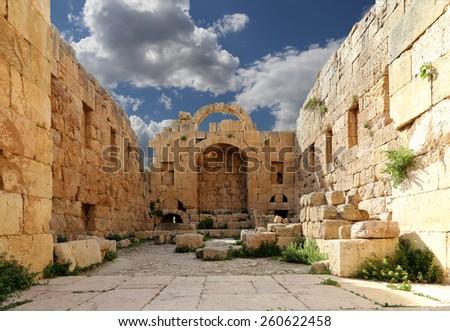 Roman ruins in the Jordanian city of Jerash (Gerasa of Antiquity), capital and largest city of Jerash Governorate, Jordan - stock photo