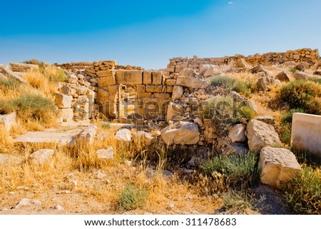 Roman ruins in Umm ar-Rasas,an archeological site in Jordan. UNESCO World heritage