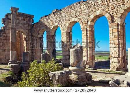 Roman ruins in Volubilis, Meknes Tafilalet, Morocco - stock photo