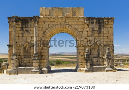 Roman ruins in Volubilis, Morocco - stock photo