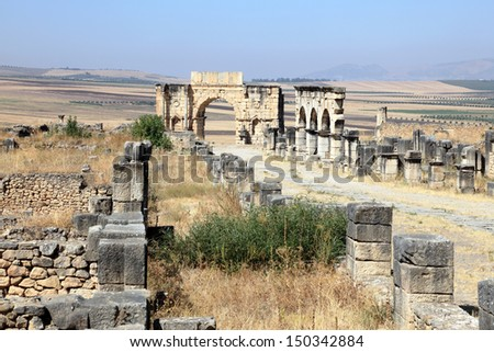 Roman ruins in Volubilis, Morocco, North Africa - stock photo