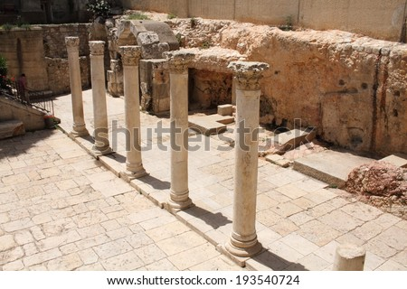 Roman ruins jerusalem israel state capital city multireligious - stock photo