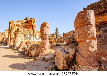Roman ruins of Baalbek, Lebanon. Heliopolis, the City of the Sun. UNESCO World Heritage