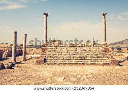 Roman ruins Sanctuaire Esculape Thuburbo Majus Tunisia - stock photo