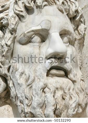 Roman sculpture. Statue of Nile. Piazza del Campidoglio. Rome. Italy. More Rome soon in my port. - stock photo