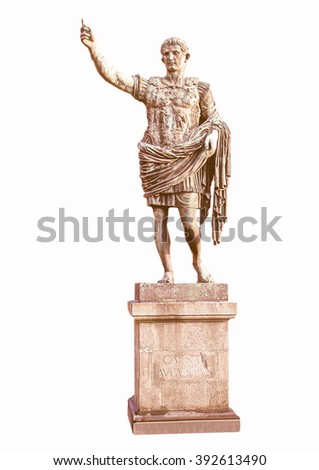 Roman statue of Caesar Augustus emperor vintage - stock photo