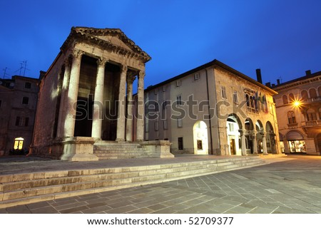 Roman temple of August at night. picture taken in Pula, Croatia - stock photo