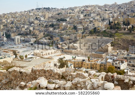 Roman theater in Amman, view from citadel, Jordan  - stock photo