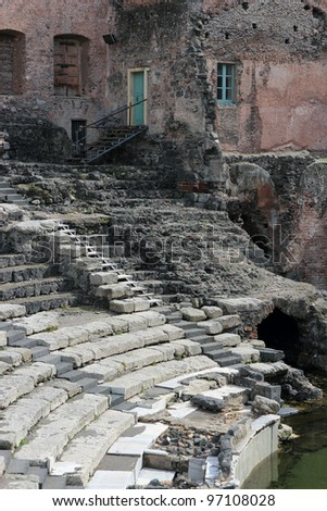 Roman theater in Catania, unesco world heritage site in Sicily,  Italy