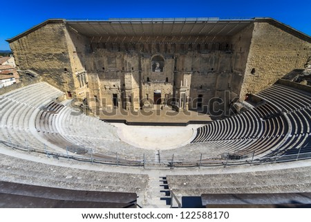 Roman theater in Orange, Southern France - stock photo