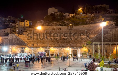 Roman Theatre in Amman (at night), Jordan -- theatre was built the reign of Antonius Pius (138-161 CE), the large and steeply raked structure could seat about 6000 people  - stock photo