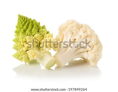 Romanesco broccoli, or Roman cauliflower and cauliflower isolated on white background  - stock photo