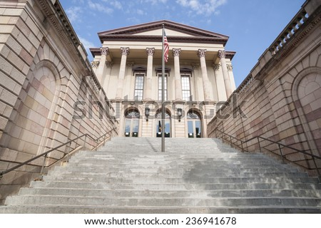 Romanesque architecture of the Lancaster County Courthouse, Pennsylvania USA - stock photo
