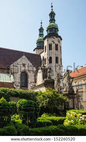 Romanesque church of St Andrew tower in Krakow. View from the Cathedral of Peter and Paul - stock photo