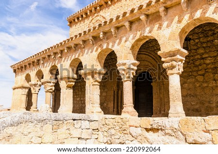 Romanesque colonnade in San Miguel church, San Esteban de Gormaz, Soria, Spain - stock photo