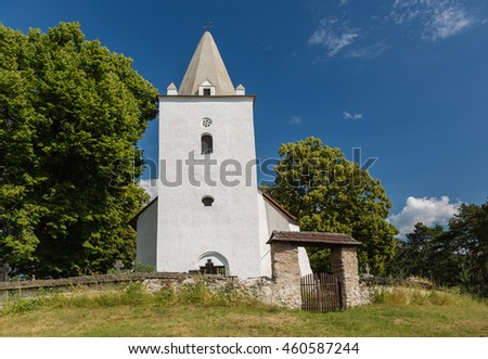 Romanesque-Gothic church from the 12th century in the village Sadok, Slovakia
