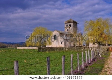 romanesque Malay church in Burgundy, France