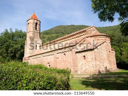 Romanesque Monastery S XII .Sant Joan les Fonts.Catalonia.Spain - stock photo