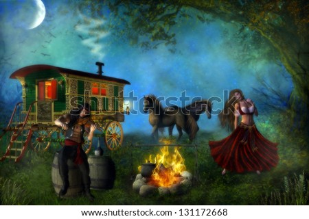 Romani gypsy male and female couple with their gypsy caravan and horses, dancing and playing the fiddle by a campfire in the forest. - stock photo