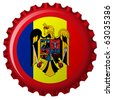 romania abstract flag on bottle cap, isolated on white background; abstract art illustration; for vector format please visit my gallery - stock photo