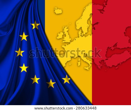Romania and European Union Flag with Europe map background - stock photo