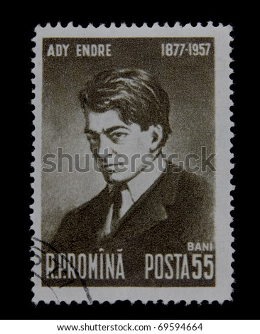 ROMANIA-CIRCA 1957: A post stamp printed in romania shows portrait of Hungarian poet Ady Endre. circa 1957