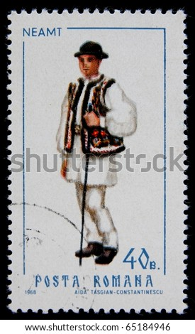 ROMANIA - CIRCA 1968 :A post Stamp printed in Romania shows Romanian man in national folk dress, series, circa 1968