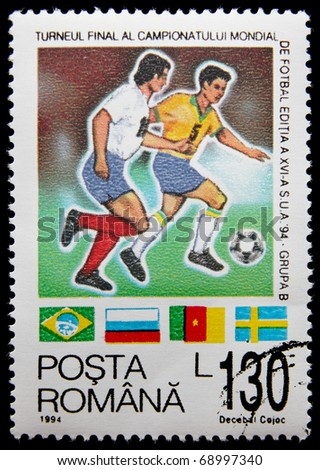 ROMANIA-CIRCA 1994: A postage stamp printed in Romanis shows football players, devoted World cup football in USA, circa 1994.