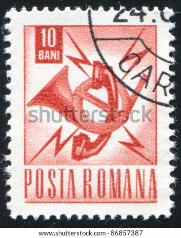 ROMANIA - CIRCA 1967:A stamp printed by Romania, shows Communications emblem, circa 1967